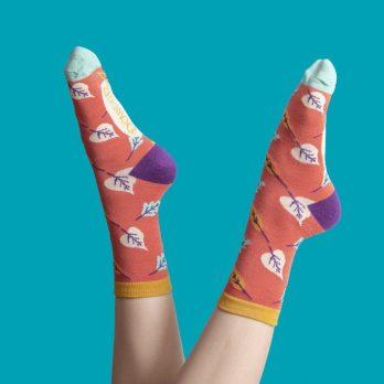 Ladies Autumnal Leaf Ankle Socks
