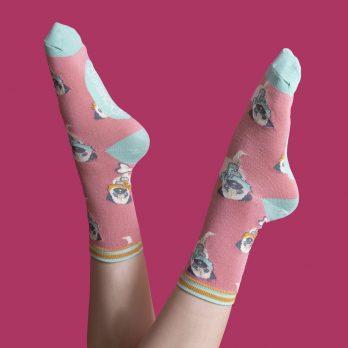 Ladies Pug Ankle Socks