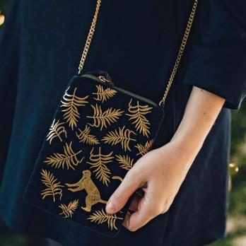 Gold Monkey Zip Top Shoulder Bag