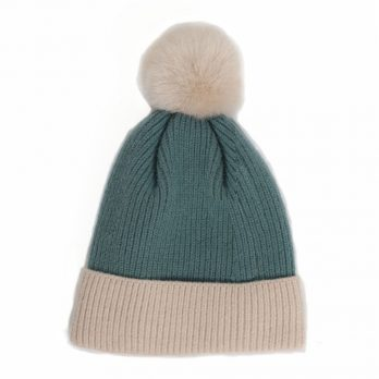 Teal knitted pom pom winter hat