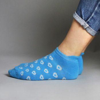 Ladies Blue Glitter Heart Trainer Socks 2 Pack