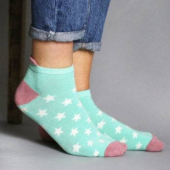 2 pack ladies mint and pink bamboo trainer socks