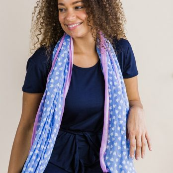 Cornflower Blue And Pink With Little Heart Print Scarf