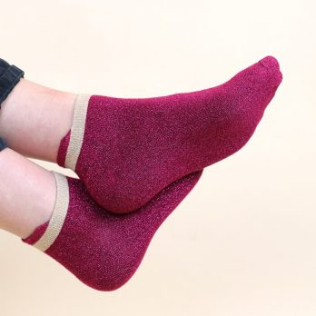 Pink and gold glitter trainer socks 2 pack