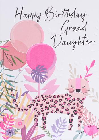 Leopard grandaughter birthday card