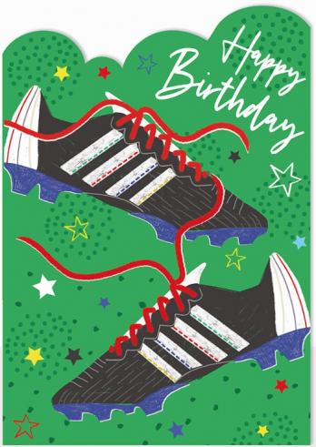 Football boots birthday card