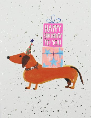 Sausage dog birthday card