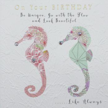 Seahorses birthday card