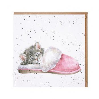 Watercolour illustration cat card