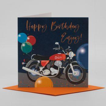 Motorbike birthday card for him