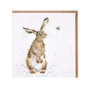 Hare and the bee greeting card