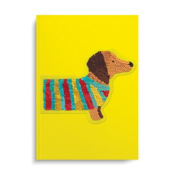 Dog Sequin Patch Lined Notebook