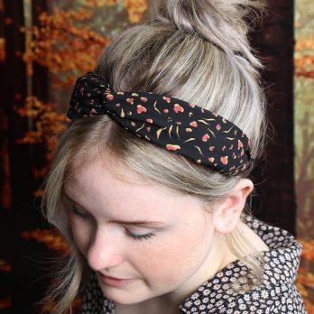 Black Safari Print Twist Knot Headband