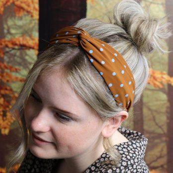 Ginger And Blue Polkadot Twist Knot Headband