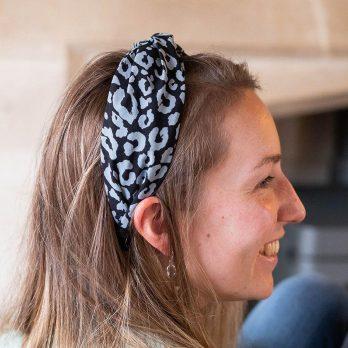 Blue and black animal print twist knot headband
