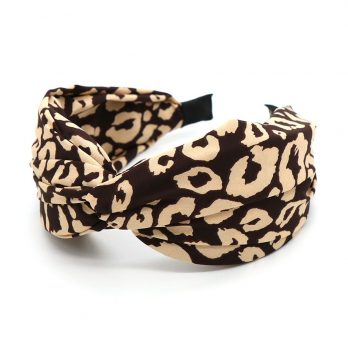 Cream And Brown Animal Print Twist Knot Headband