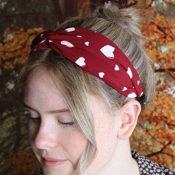 Deep red heart twist knot headband