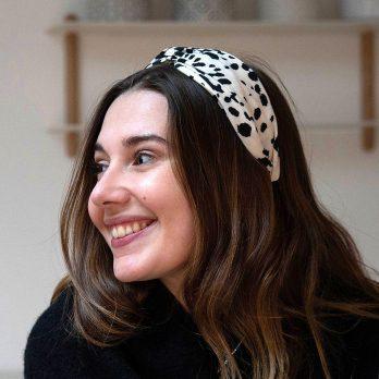 Cream And Black Ink Spot Twist Knot Headband