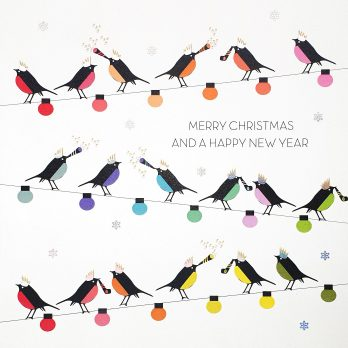 Colourful Robins Boxed Christmas Card Pack