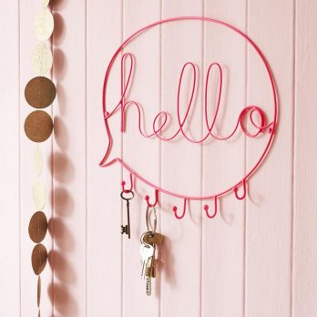 Pink Hello Wire Word Art Hook